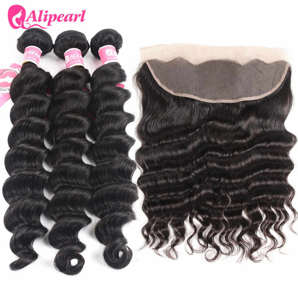 Ali Pearl Loose Deep Wave Bundles With Frontal Malaysian Human Hair Bundles With Lace Frontal Closure 3PCS Remy Hair Extensions