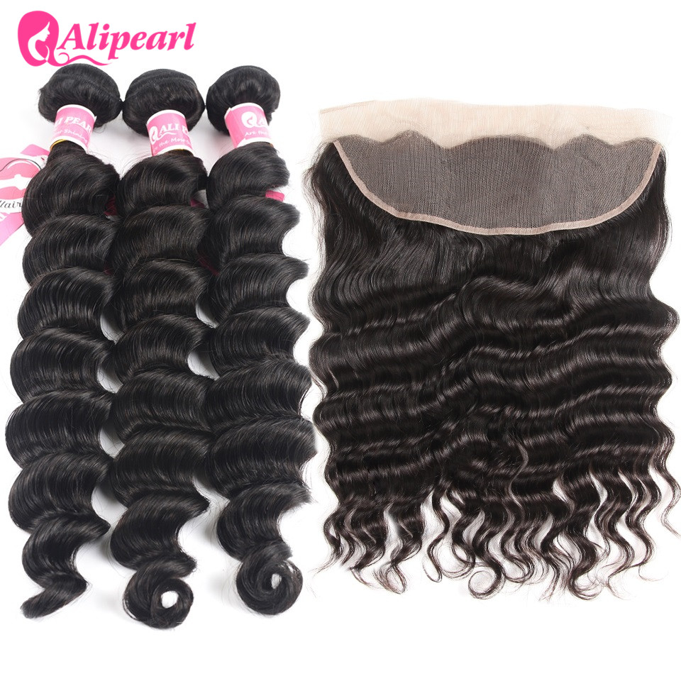 Human Hair Weaves Alipearl Human Hair Loose Wave Bundles With Frontal Pre Plucked Peruvian Hair Weave Bundles 3pcs Natural Color Remy Hair 3/4 Bundles With Closure
