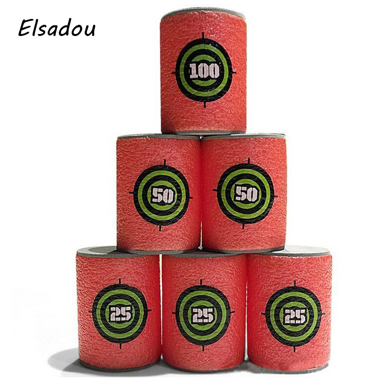 Elsadou 6pcs/set Bullet Targets Shot Dart Target for Elite Retaliator Series Blasters Darts Toy Gun Soft