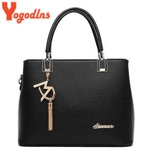 Image 2 - Yogodlns Klassische Reine Farbe Frauen PU Leder Tote Quaste Taschen Weibliche Top griff Handtasche Mode Umhängetasche umhängetasche für dame