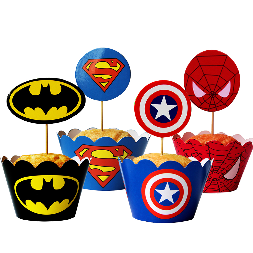 Superhero Cupcakes Wrappers Toppers Dealeaz