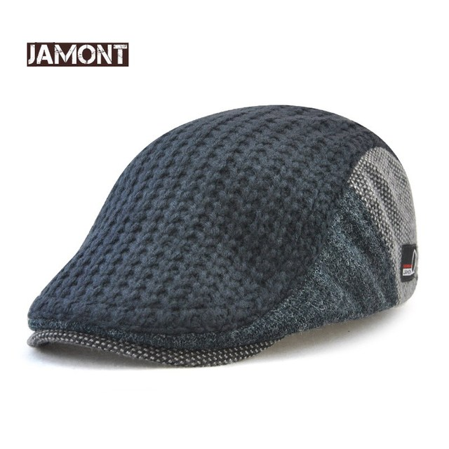 a51e2c07b3c Jamont Mens Knitted Wool Beret Cap Winter Warm Hat For Male Duckbill Visor Flat  Cap Boina