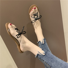 HKJL Transparent women wearing 2019 summer outside the Korean version of womens slippers strap flat bottom soft A496