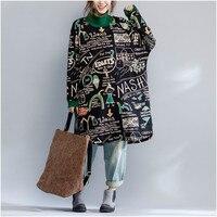 Плюс размеры осень зима утолщение Длинный свитшот платье женские Винтаж Свободные turlt k письмо печати Толстовка Топы корректирующие