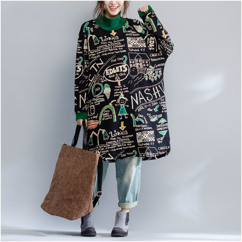 Plus Size Autumn Winter Thickening Long Sweatshirt Dress Ladies Female Vintage Loose Turltleneck Letter Print Sweatshirt Tops