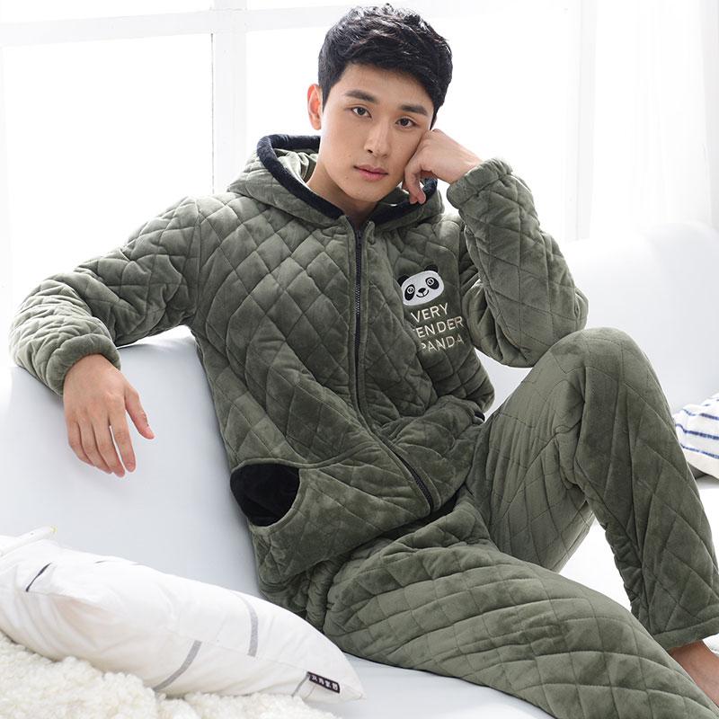 Winter Cotton-Padded Pyjamas Coral Fleece Wadded Jackets Velvet Men's Pajamas Set Sleepwear Pyjamas Suit Pijamas Fashion Quilted