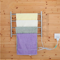 Healthy living Bathroom Accessories Chrome Heated Towel Rack Stainless Steel Warmer Rail Square 4 Bars