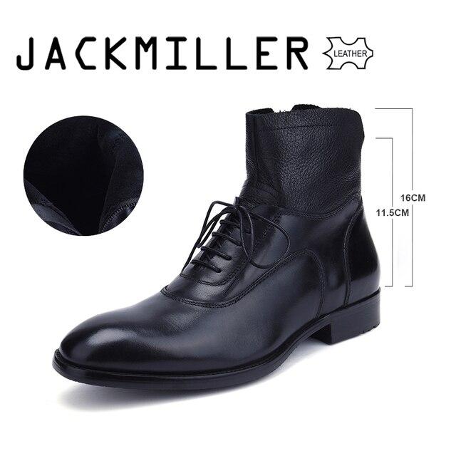 Jackmiller トップブランド男性のブーツ足首ビジネスパーティーブーツ基本ドレス男性用本革固体黒 39-45