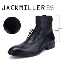 Jackmiller Top Brand Men's Boots Ankle Low Heel Business Party Boot Basic Dress Boots for Men Genuine Leather Solid Black 39-45