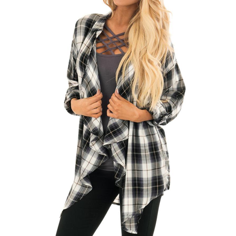 Теплая зима лучший Для женщин кардиган Для женщин S Длинные куртки осень нерегулярные решетки печати дамы пальто верхняя одежда кардиган tw