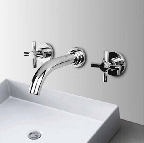high quality chrome finished brass in-wall bathroom sink basin faucet bathroom sink faucet free shipping high quality chrome finished brass in wall bathroom basin faucet brief sink faucet bf019