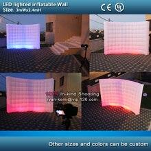 Frete grátis 3mWx2. 4mH LED iluminado cenário parede inflável do Painel de fundo da foto