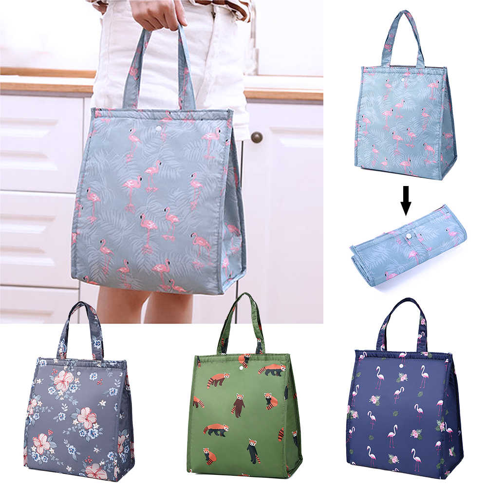 Pattern Lunch Bags For Women Kids Picnic Beach School Flamingo Portable Lunch Bag Tote Handbag Food Container Kitchen Storage