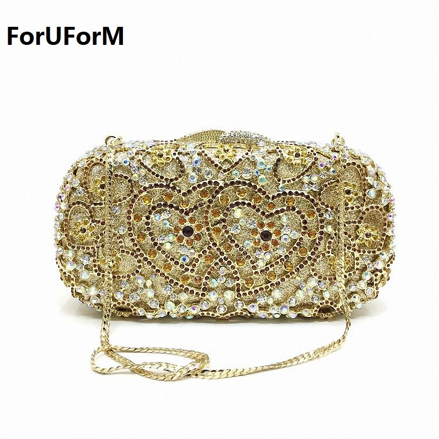 ForUForM Heart pattern Diamonds women evening bags small purse clutch handbags rhinestones evening bags for wedding tote LI-1566 стоимость