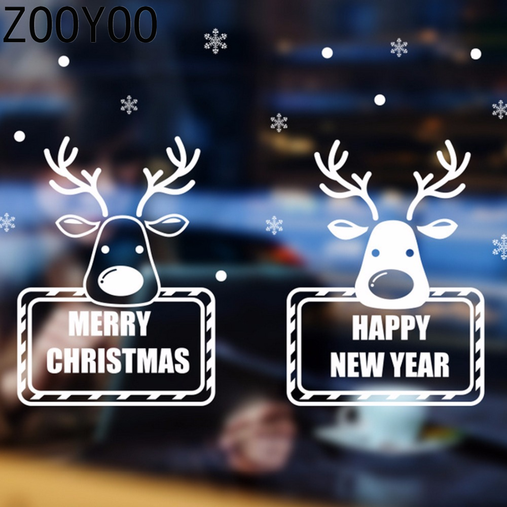 Zooyoo Happy New Year Year Merry Christmas Cute Reindeers Wall Wall Sticker On The Shop