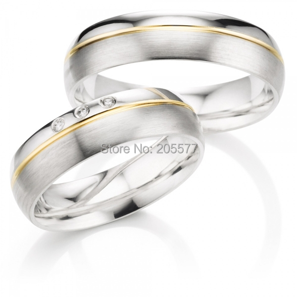 custom size His and Hers wedding bands western style titanium engagement wedding rings set anel de prata his and hers rings white gold plating pure titanium engagement wedding bands rings 2014