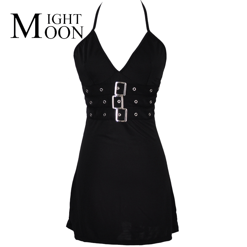 MOONIGHT Women Clothes Summer Buckle Front Halter Neck Deep-V Black Dress Party Disco Wear Sexy Clubwear Bodycon Dresses