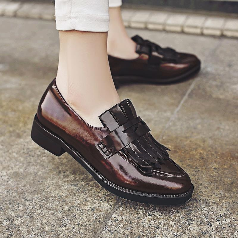 Women Loafers Fashion Genuine leather Ladies Tassel Flat Shoes Woman Mixed  Colors Black Casual Shoe Patent Leather Style Flats-in Women s Flats from  Shoes ...