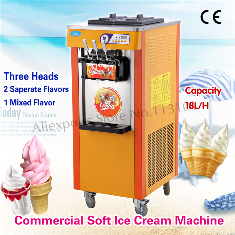 Upright Soft Ice Cream Machine Digital Control System Three Heads Upright Type Brand New Different Colors for Selection edtid new high quality small commercial ice machine household ice machine tea milk shop