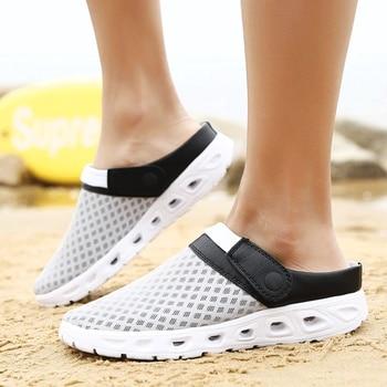 Мужские летние сандалии, дышащие сетчатые сандалии, летняя пляжная мужская обувь, мужские шлепанцы, модные шлепанцы, недорогая обувь