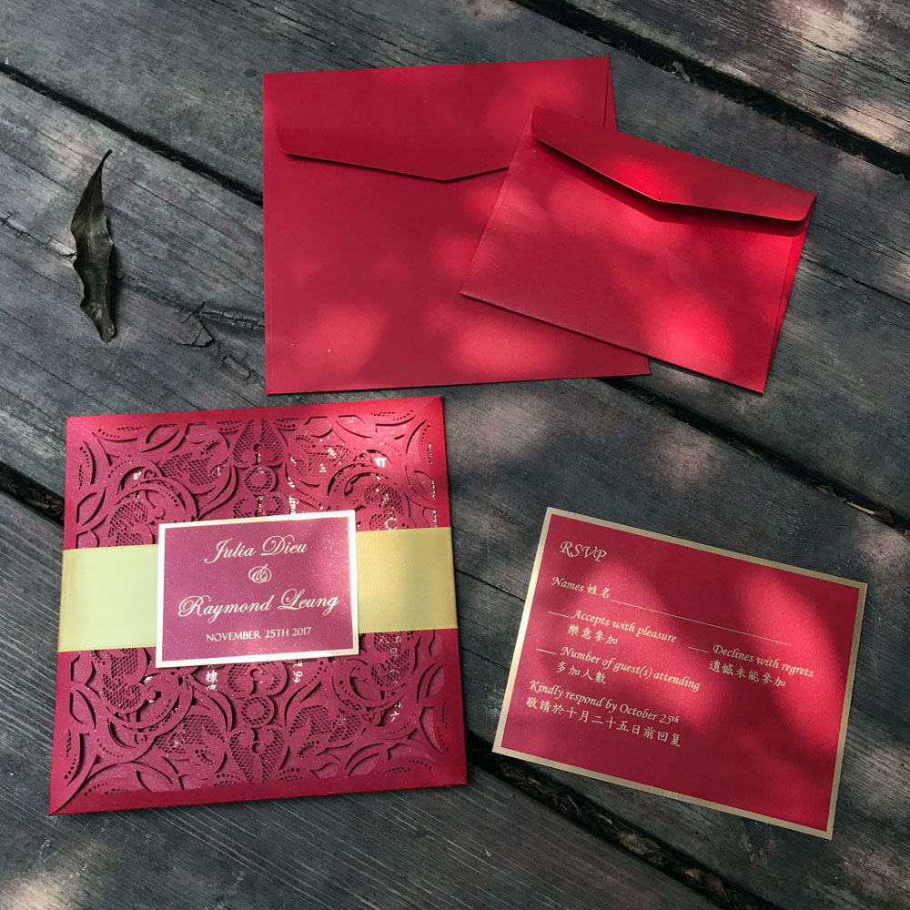 Laser Cut Wedding Invitations Card and RSVP Elegant Birthday Party ...
