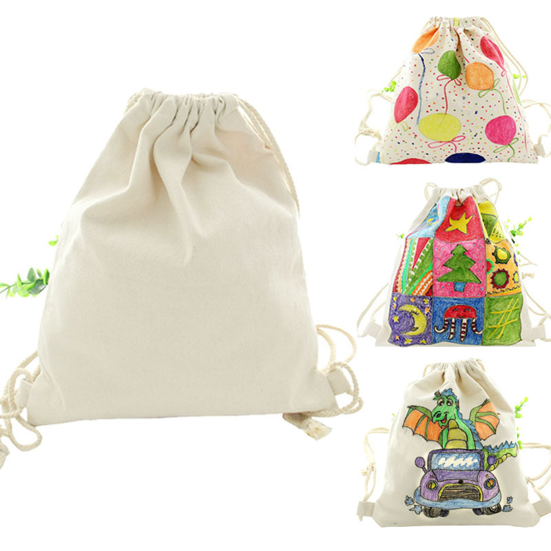 Child Toy Crafts Kids DIY Hand Painting Environmental Protection Canvas Backpack Early Learning Education Toys Montessori