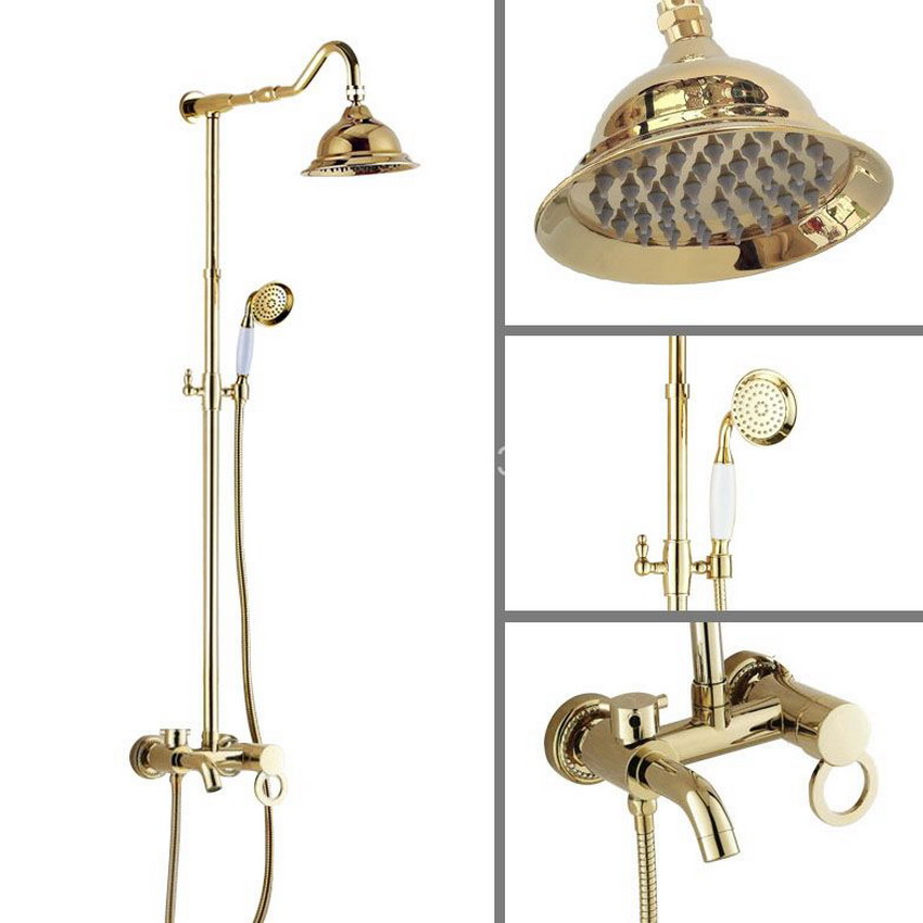 Gold Color Polished Brass 6 3 Inch Round Bathroom Rain Shower Faucet Set Telephone Style