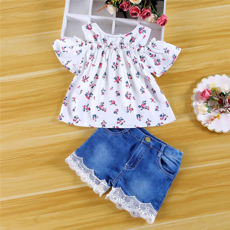 Reasonable Lovely Summer Sweet Toddler Baby Girls Clothes Off-the-shoulder Printed Top & Denim Short Pants Roupas Infantis Menina #f#4de06 Elegant Shape Clothing Sets Girls' Clothing