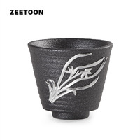 Black Zen Japanese Coarse Pottery Teacup Kung Fu Tea Set Carved Designs Master Cup Tea Bowl Ceramic Creative Home Decor New