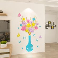 new design flower vase acrylic home decoration wall stickers decor