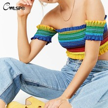CWLSP New Women T-shirt 2018 Summer Chiffon Slim Crop Top Rainbow Striped Slash Neck Tee Shirt Femme T Shirt QA2448(China)