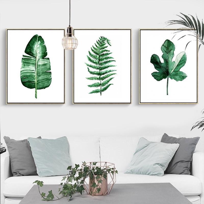 Moderna zelena tropska biljka ostavlja platnu Ispis plakata, - Kućni dekor - Foto 3