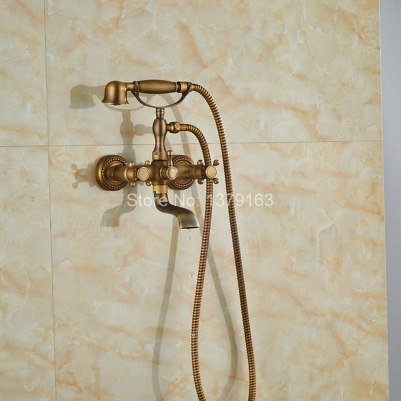 Antique Brass Wall Mounted Bathroom Tub Faucet Dual Cross Handles ...