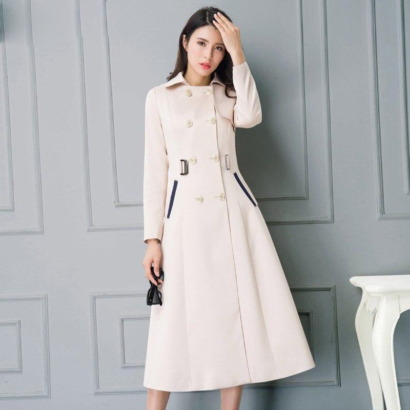 2017 Spring Autumn New Women's Double-breasted Long Jacket Coats Ladies Plus Size Long Sleeve Lapel Windbreaker Beige Outerwear