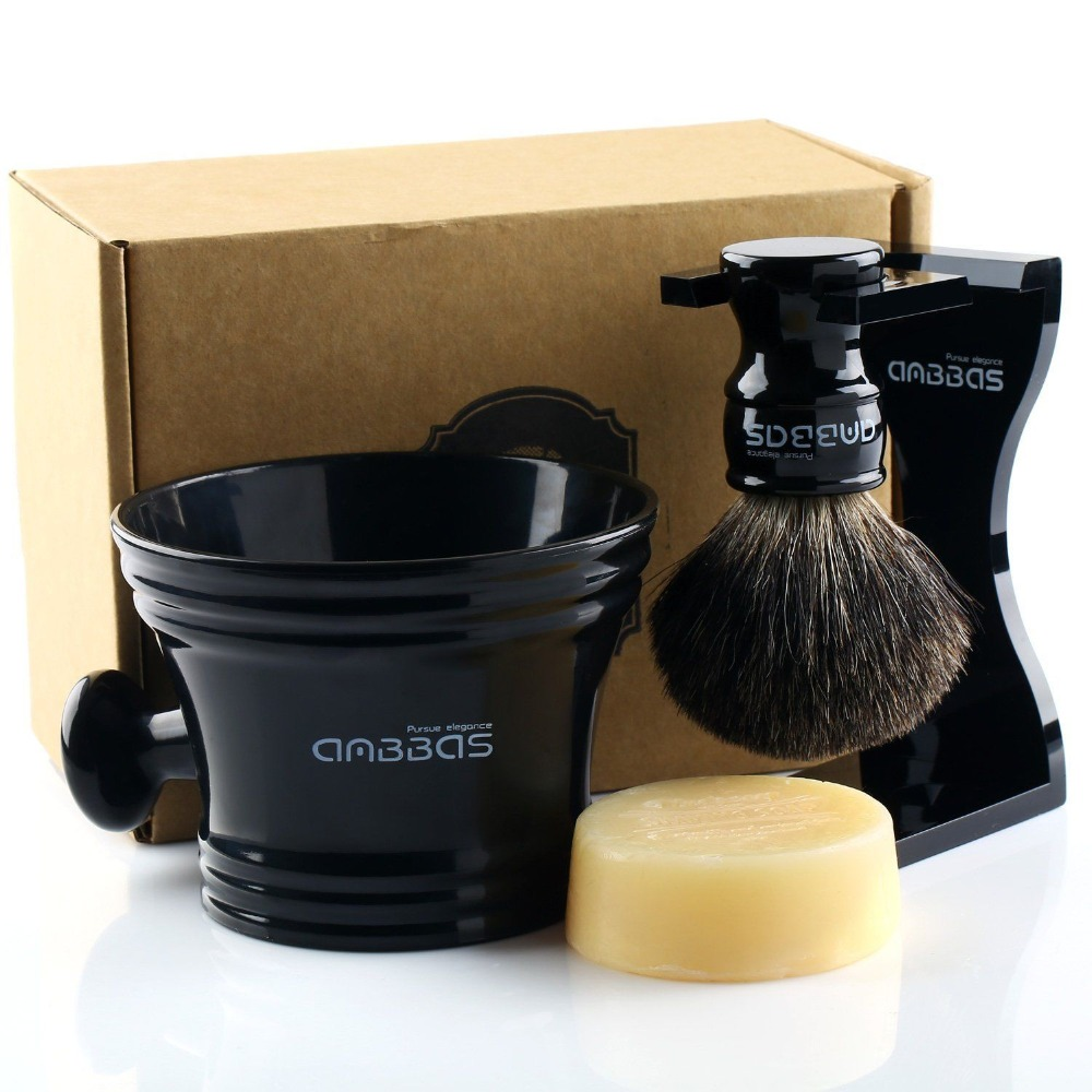 Anbbas shaving brush black badger hair acrylic stand shaving mug cup and soap