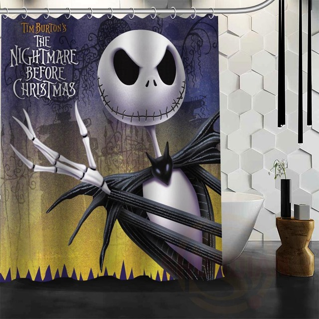 Best Nice Custom Nightmare Before Christmas Shower Curtain Bath Waterproof Fabric For Bathroom MORE SIZE