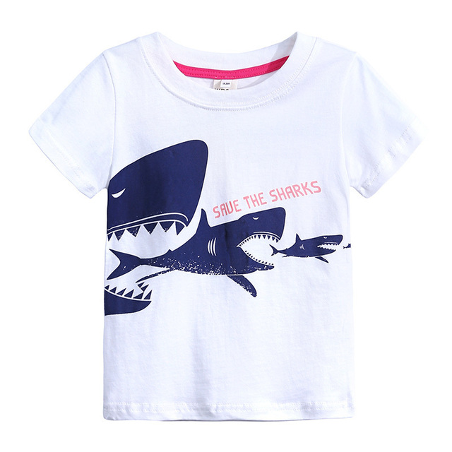 3722c94afb4 Boys Short Sleeve T Shirts For Children Sharks T-shirt Cotton 1-6 Year
