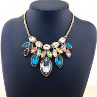 New Gorgeous Color Fashion Necklace 2014 Women Latest Semi Precious Stones Top Quality Crystal Statement Necklace
