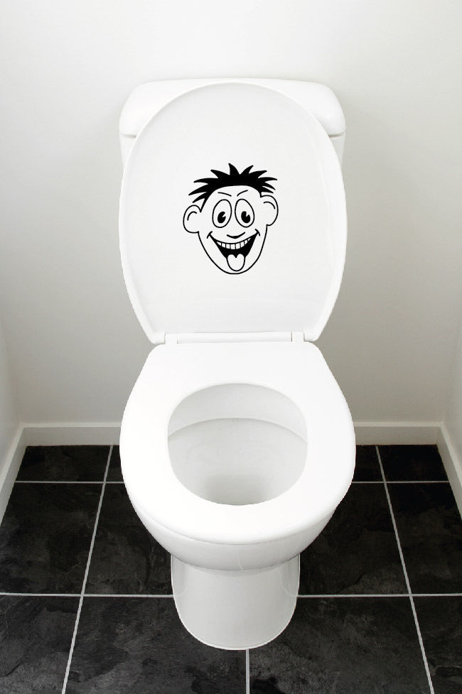 toilet seat vinyl bathroom wall art decal mural funny smiley face sticker vinyl wall decals for