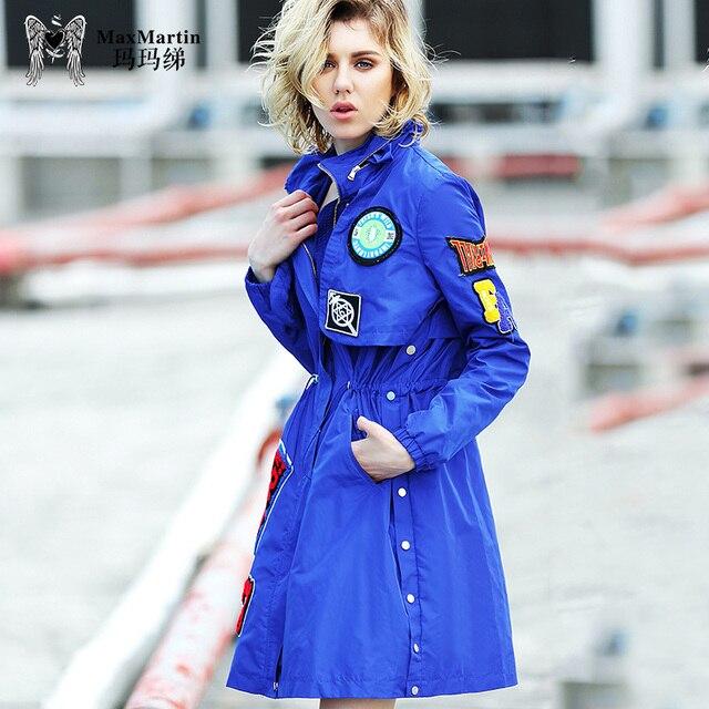 2018 women's clothing spring new coat fashion Korean version blue windbreaker female middle long street long sleeve coats ladies