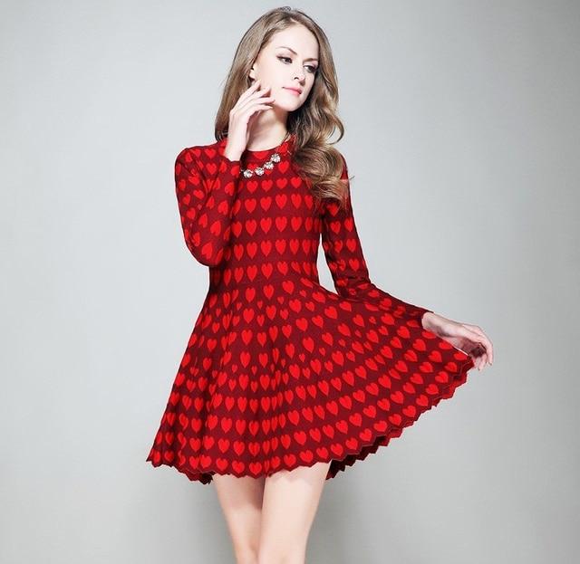 2016 mujeres de moda para mujer chicas Casual corazones rojos Mini vestidos  una línea completa círculo b622ed956ed2