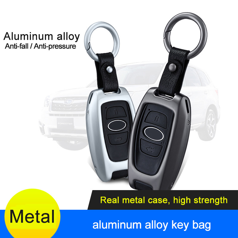 QHCP Aluminum Alloy Remote Car Key Bag Key Shell Case Holder Cover Fit For Subaru Forester