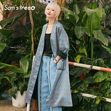 New Woman Trench Coat Casual Floral V-Neck Long Sleeve Loose Femme Tren