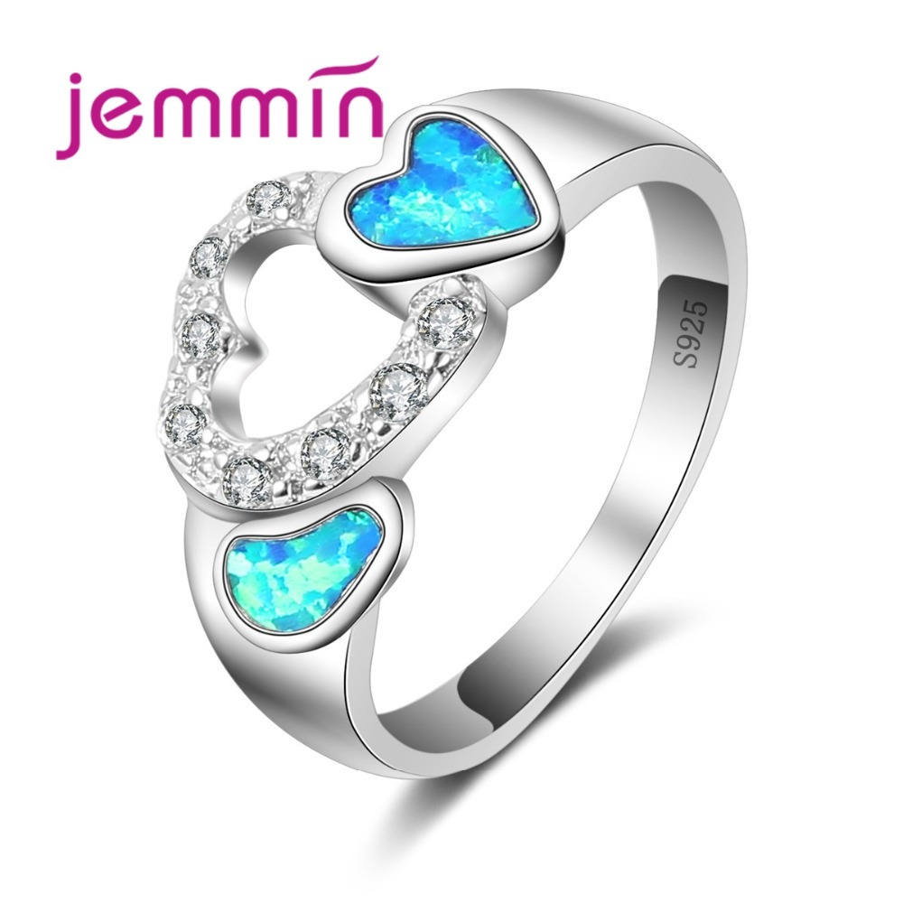 Double Heart Rings For Women Wedding Jewelry Hollow Out Rhinestone 925 Sterling Silver Engagement Proposal Ring For Lover
