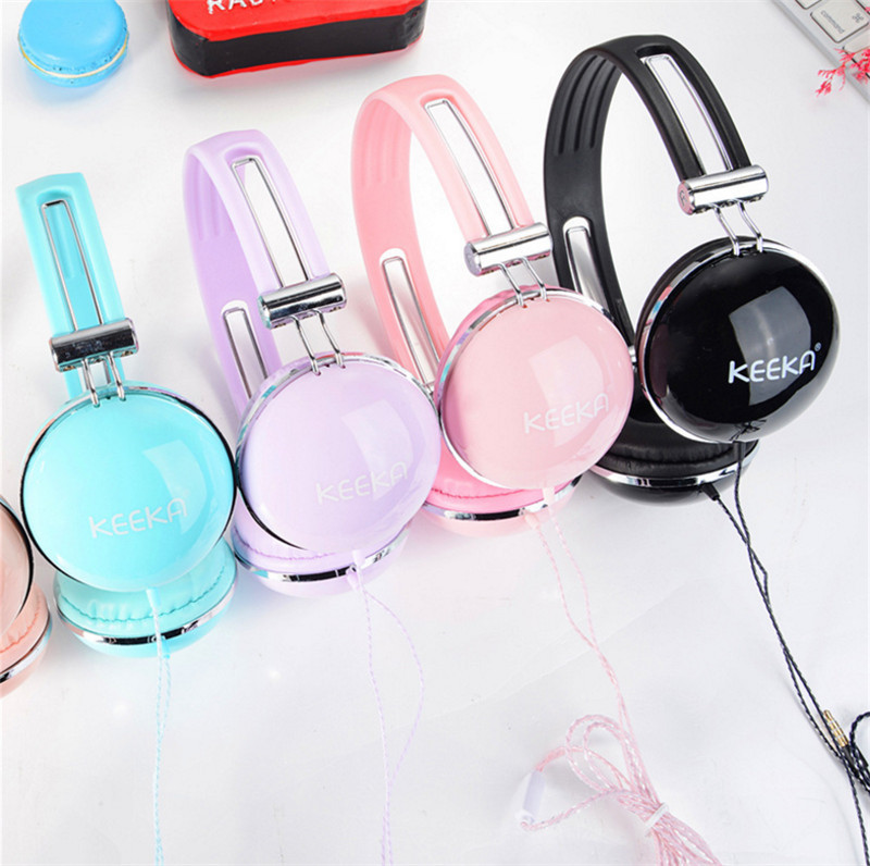 Luxury Beautiful Headband Stereo Headphones w/ Microphone Portable Wired Big Headset for Girls  Mobile Phone iPhone Samsung Gift yongle ep11 stereo 3 5mm headband earphone w microphone for mobile phone laptop cable 140cm