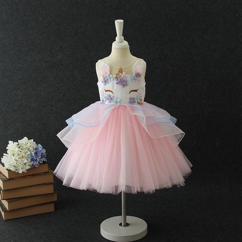 Lovely Kids Dress Unicorn dla dziewczynek Haft Flower Ball suknia - Ubrania dziecięce - Zdjęcie 1
