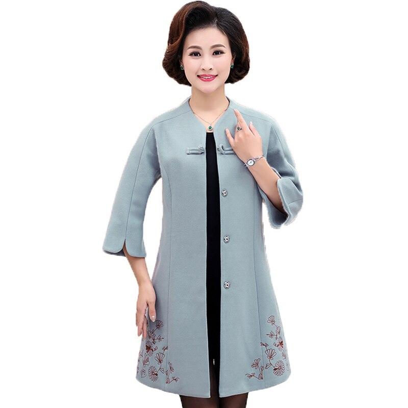 Mature Women Elegant Tweed Coat Chinese Style Woollen Blends Overcoats Three Quater Sleeve Wool Coat Woman Oriental Overcoat 4XL