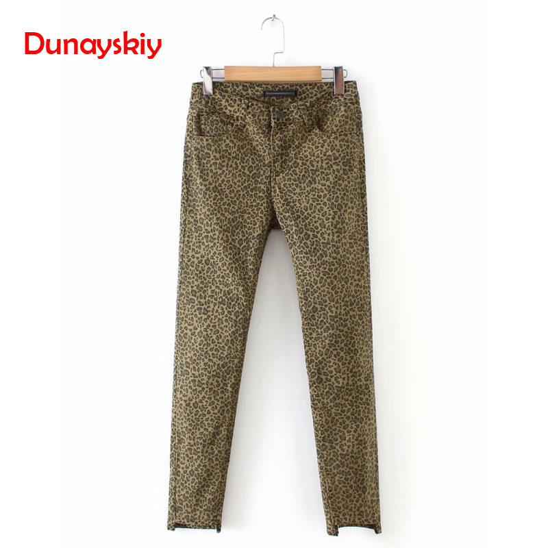 Women Leopard Print Skinny Denim Jeans Animal Pattern Pockets Vintage Chic Ankle Length Trousers Pantalones Asymmetry Jeans