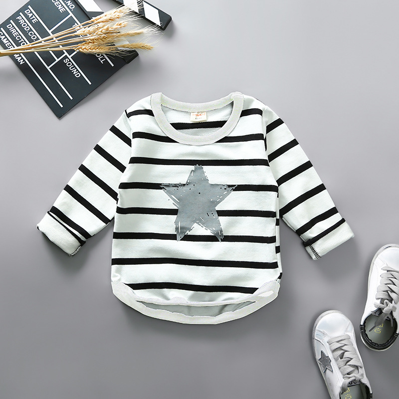 Boys Long Sleeve Tops 2018 Brand Spring Clothing Baby Boy Sweatshirts Striped Star Children T shirts for Kids Boys Clothes
