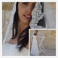 velo de novia 3 M Cathedral veil Wedding White & Ivory Spanish beaded Lace Edge Bridal Veil wedding lace veil Mantilla Free Comb